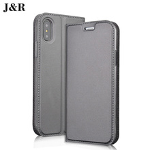 Фотография J&R For Apple iPhone X Flip Case PU Leather Cover For Apple iPhone X 5.8inches Protective Phone Bags&Cases With Card Slot