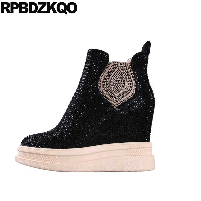 be3a911175f high heel booties extreme brand rhinestone wedge chelsea platform beige  fetish sheepskin women ankle boots 2018 round toe shoes