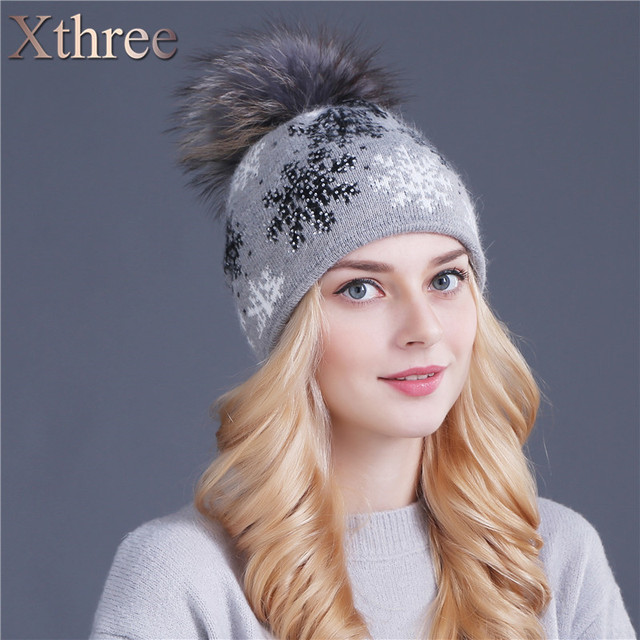 Xthree real mink knitted hat natural pom poms wool rabbit fur hat fashion snow Skullies winter hat for women girls hat beanies