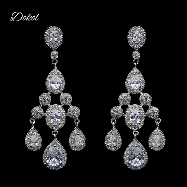 Dokol luxury wedding chandelier earrings for women dangle sparkling dokol luxury wedding chandelier earrings for women dangle sparkling aaa cz stone elegant bridal drop earring aloadofball Image collections