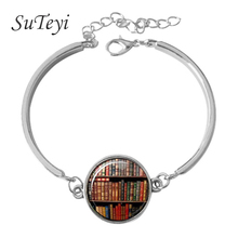 SUTEYI Book Bracelet Librarian Jewelry Bookcase Bibliophile Book Lover Library Rats glass cabochon dome silver bracelets