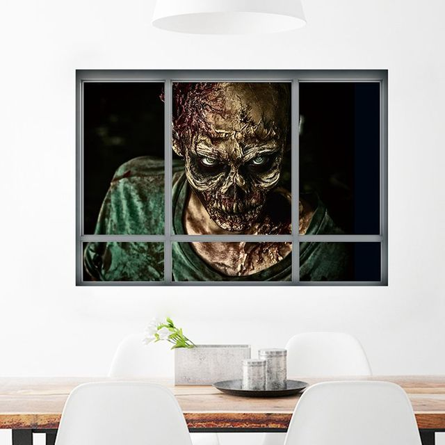 3d halloween wall stickers false window series ghost poster home