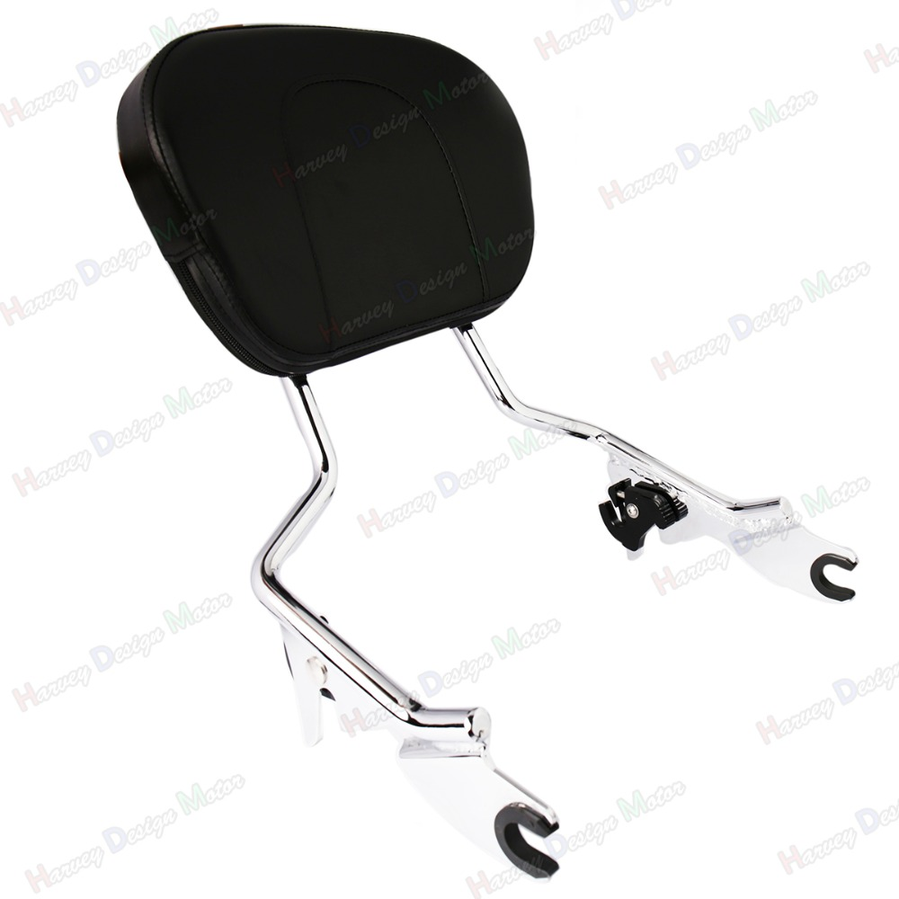 Chrome Sissy Bar Upright Passenger Backrest w/ Pad For Harley Touring 2009-2016 rsd motorcycle 5 hole beveled derby cover aluminum for harley touring flh t 2016 2017 for flhtcul and flhtkl 2015 2016 2017