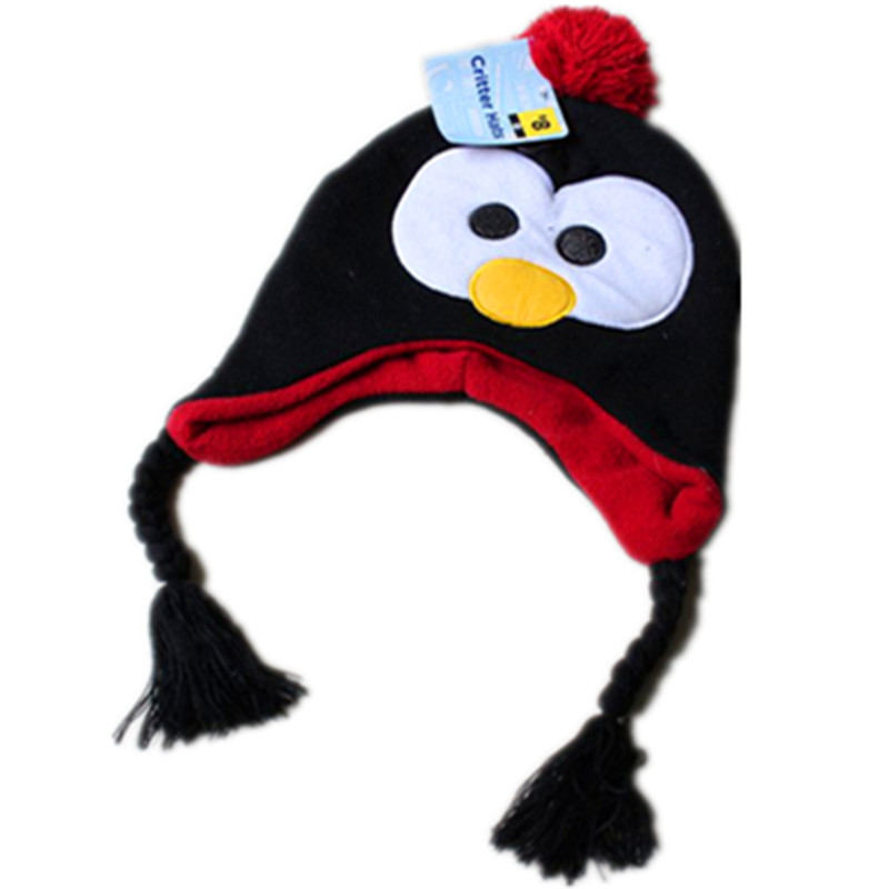 Cartoon Plush Cotton Black Penguin hat Animals Cosplay Cute Soft Unisex Penguin warm Winter Hat Cap Beanie For Boys and Girls the new children s cubs hat qiu dong with cartoon animals knitting wool cap and pile