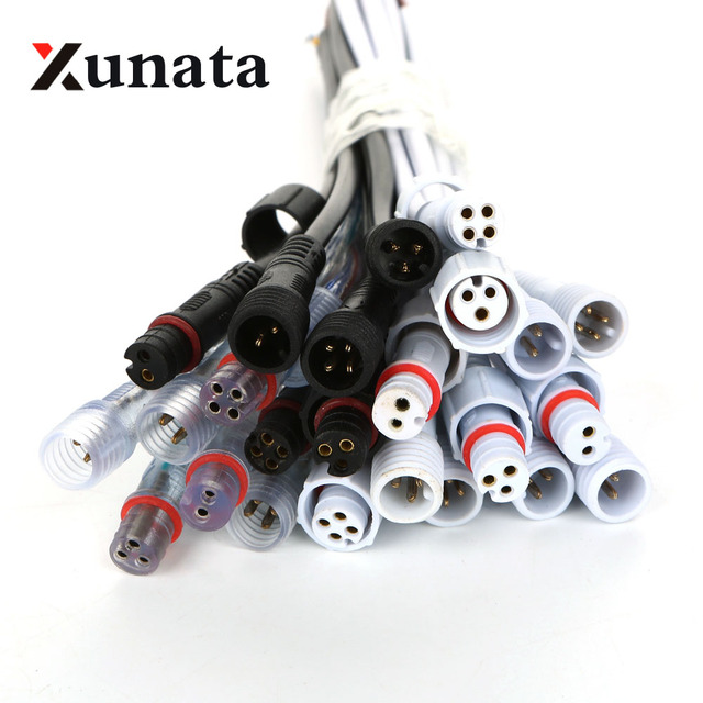 5pairs 2 pin / 3 pin / 4 pin Waterproof connector with wire cable IP68 female & male plug 2X 0.3(mm2)