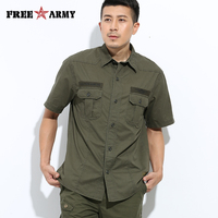 Exército livre Da Marca Hot Mens Shirts Moda 2017 Primavera Dos Homens Camisas Casuais Mangas Curtas Botões Bolsos Exército Verde MS-609