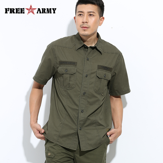 Free Army Brand Hot Mens Shirts Fashion 2015 Spring Short Sleeves Buttons Pockets Army Green  Men's Casual Shirts MS-609