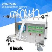 ZONESUN 8 head Electric Digital Control Pump Liquid Filling Machine 0.5 4000ml For Liquid Perfume Water Juice Essential Oil