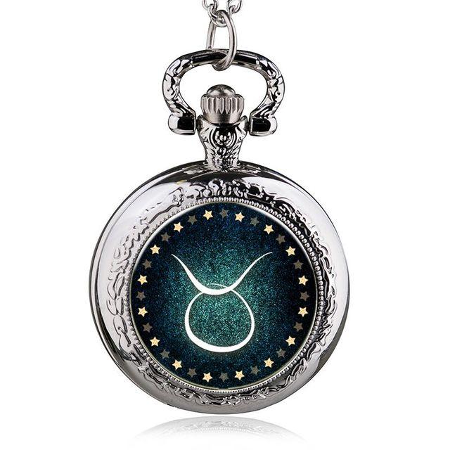 c3d32f7e2 Nueva moda plata/bronce/Negro Zodiaco Tauro cuarzo reloj de bolsillo collar  de cadena