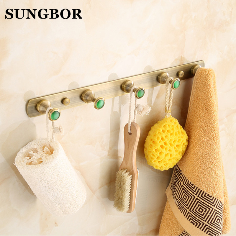 Wholesale And Retail Antique Brass Wall Mounted Bathroom Towel Hooks 4 Pegs Coat Hat Hangers Solid