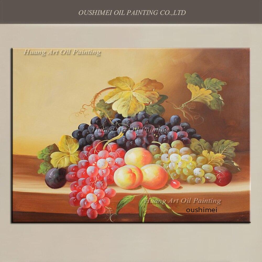 Handmade Still Life Painting Modern Fruit Artwork Wall Art On Canvas Grapes Dining Room Decor