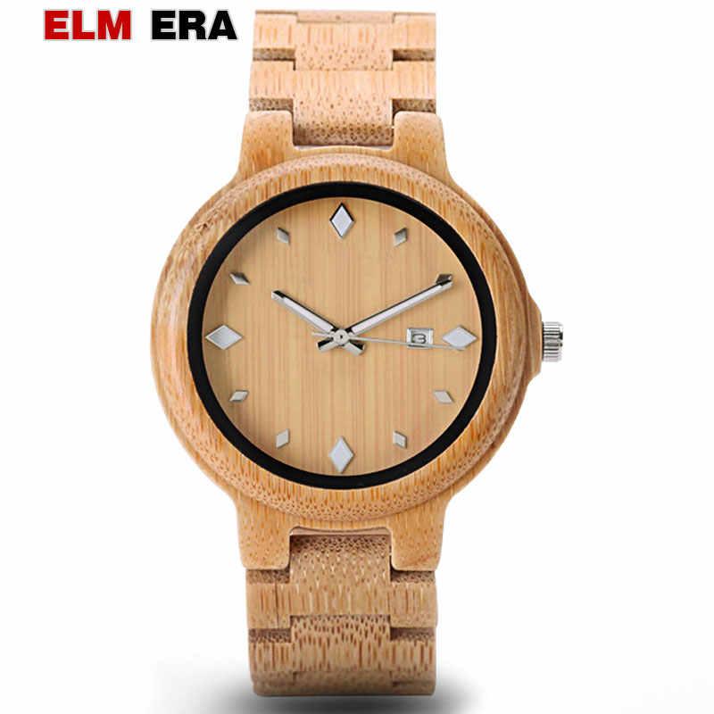 Reloj de madera para hombre erkek kol saati con fecha y semana relojes de cuarzo con Logo de madera