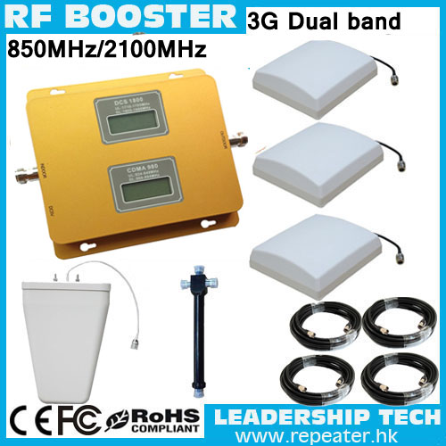 OFFICE USE CDMA/WCDMA 850MHZ/2100MHZ 3G LCD Cellular Mobile/cell Phone Signal Repeater Booster Amplifier Detector Antennas