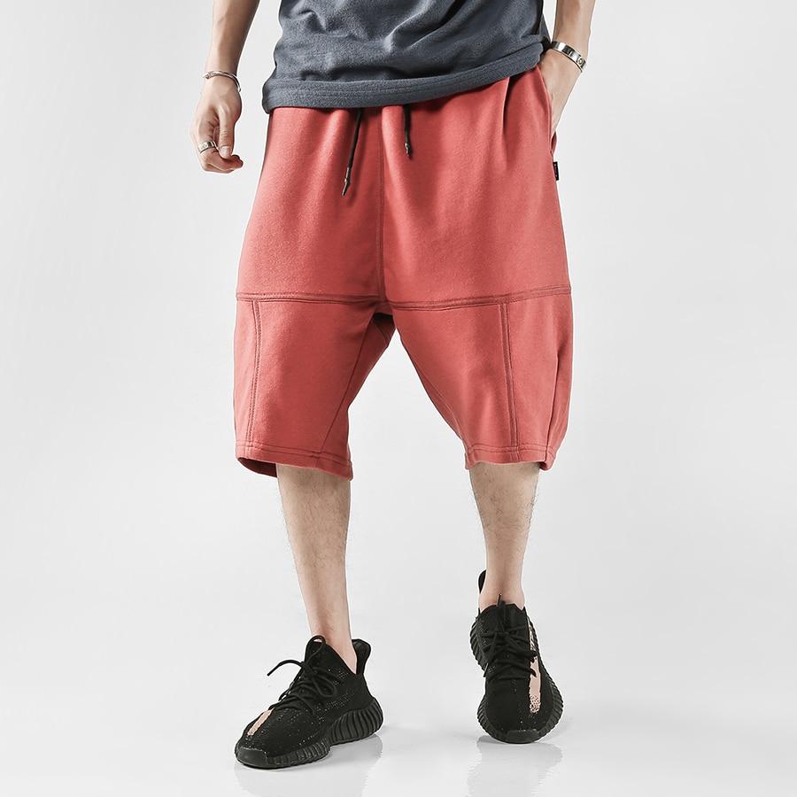 Streetwear Long Shorts Men Summer Hip Hop Bermuda Masculina Harem Pockets Baggy Shorts Men Cargo Sweatpants Streetwear 6D14
