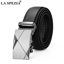 LA SPEZIA Automatic Buckle Belt Men Genuine Leather Black High Quality Multi Type Business Cowhide Man