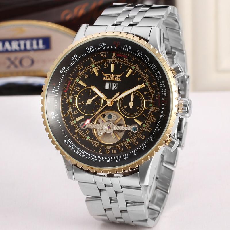 Prix pour Jaragar Tourbillon Relogio Automatico Masculino Montres Hommes En Acier Plein Montre-Bracelet mens watch top marque de luxe volant cadeau boîte