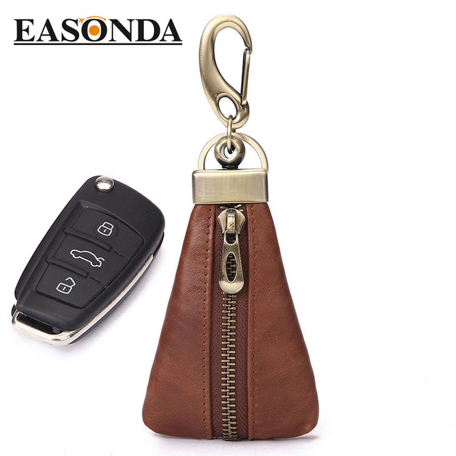 Solid Genuine Leather Car Key Holder Fashion Unisex Zipper Black Coffee Color Key Bag Sleuteletui Lady's  Men's Mini Bag