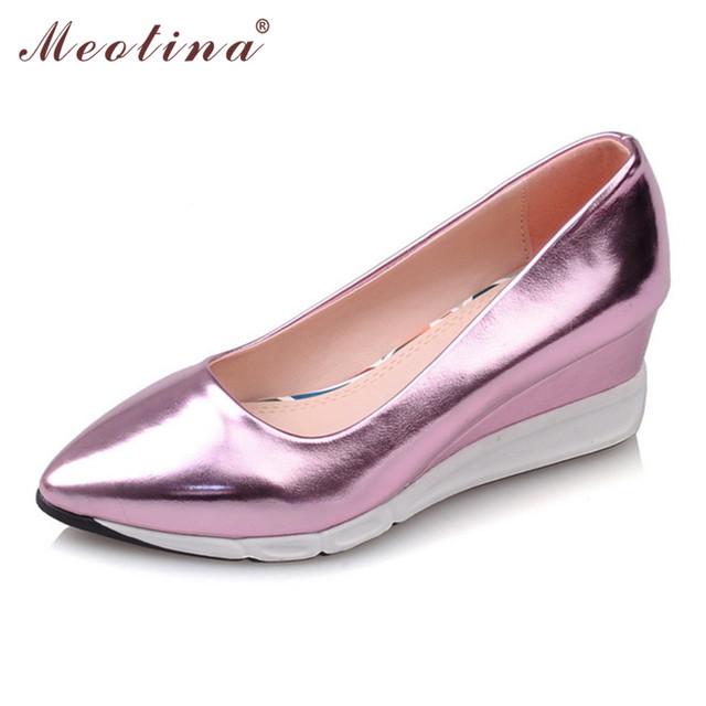Meotina Plataforma Plataformas Tacones Altos Zapatos Calzado de Las Señoras de Partido de Las Mujeres Tacones de Cuña Del Dedo Del Pie Puntiagudo Zapatos de La Astilla de Oro Rosa Tamaño 34-39