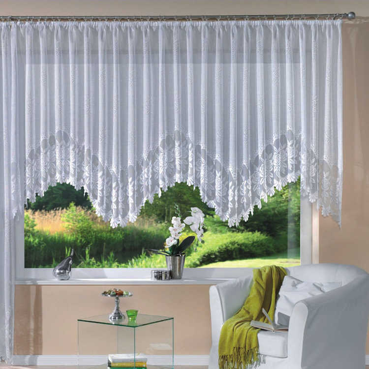 European Romantic Style Curtain Knitted Jacquard Arch Curtains Half Shading White Lace Curtain Large Size