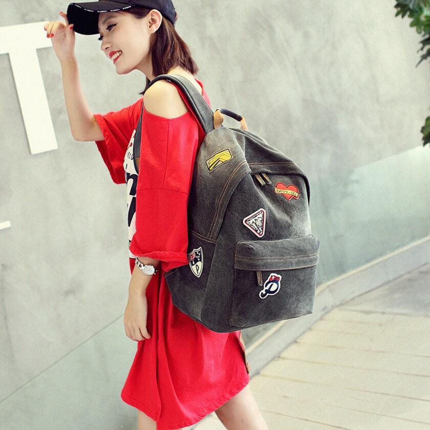 KUJING New Women Backpack Premium Denim Student Satchel High Volume Women Travel Leisure Backpack Hot Luxury Women Backpack