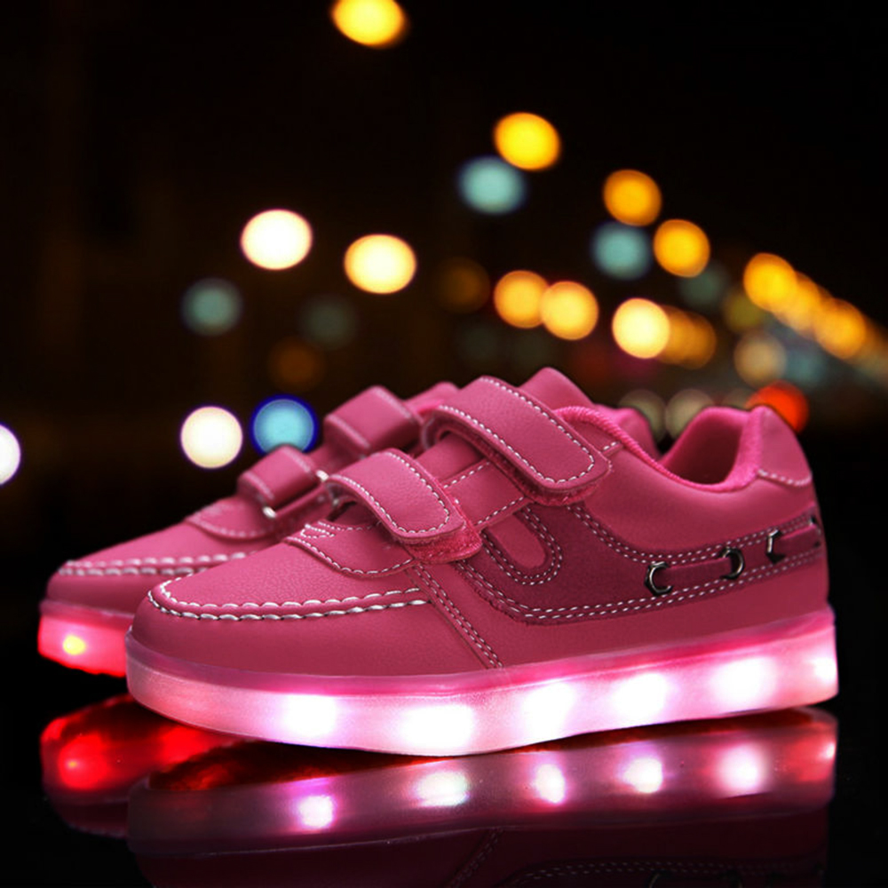 KRIATIV 2017 New Hot EUR Size25-37 Children's Luminous Sneakers Kids' shoes Lighted LED Boys&Girls Casual Shoes With USB Charge