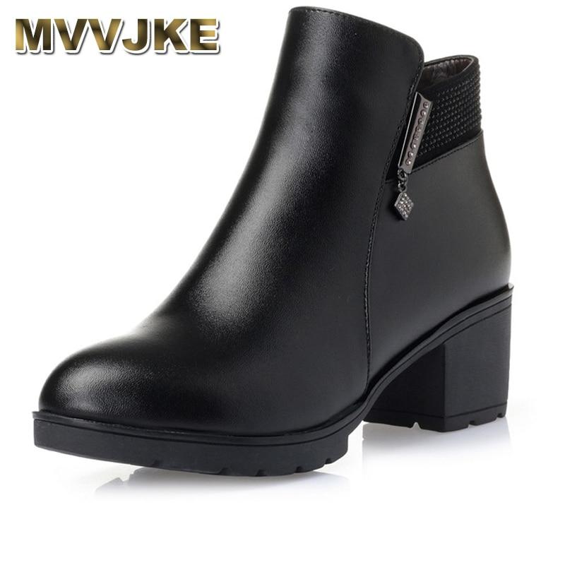 MVVJKE Fashion 2018 Women Fur Snow Boots Winter Warm Genuine Leather Platform Shoes Woman Ankle Boots Thick Heels Botas Mujer цена 2017