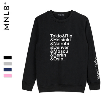 SMZY Money Heist Tokio Hoodless sweatshirts men spring long sleeve hoodies men cotton blend fashion hoodies casual streetwear