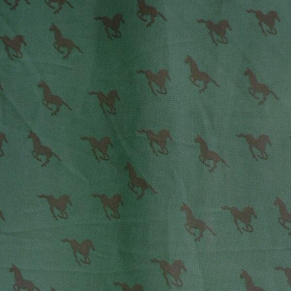 1 sztuka francuski zielony zwierząt drukuj szyfonowa sukienka bluzka spódnica handmade szycia tkaniny tkaniny koni grafiki tissus tecidos