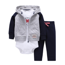 Sets 1 Hooded Zipper Coat + Pants + Romper Fashion Cotton 2018 Baby Boy Girl Clotheschildren Boys Cute Clothing Free Shipping