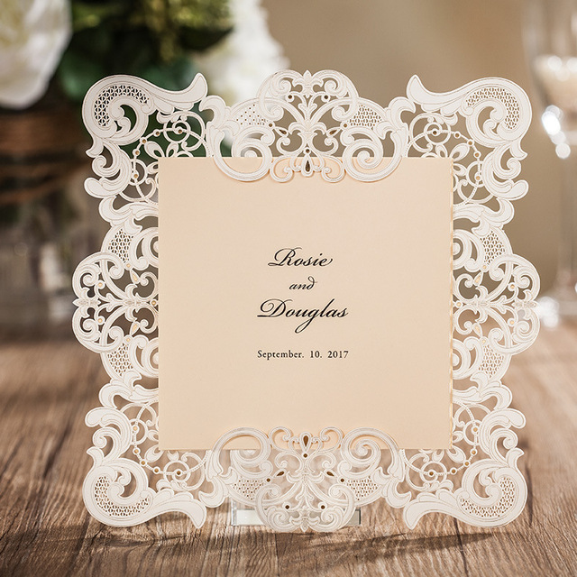 Aliexpress Buy Laser Cut Wedding Invitations Cards White – Invitation Card Rsvp