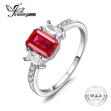 Jewelry Accessories - Fine Jewelry - JewelryPalace Modern 4.4ct Emerald Cut Created Ruby & CZ Engagement Rings For Women Gift 925 Sterling Silver Charms Fine Jewelry