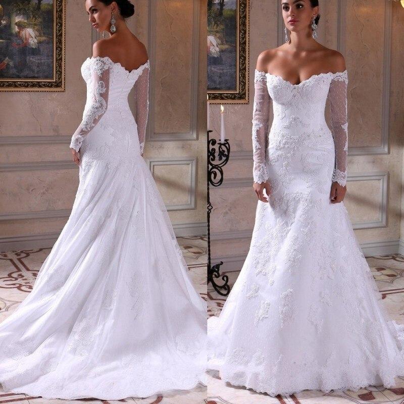Off the shoulder lace mermaid wedding dresses www for Wedding dress off the shoulder