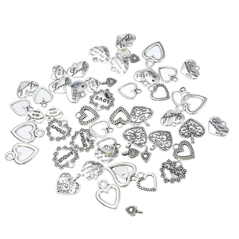 10-50PCs Vintage Heart Charms Pendants Fashion Charm Necklace Braelet For Women Men DIY Jewelry Findings Random Mixed