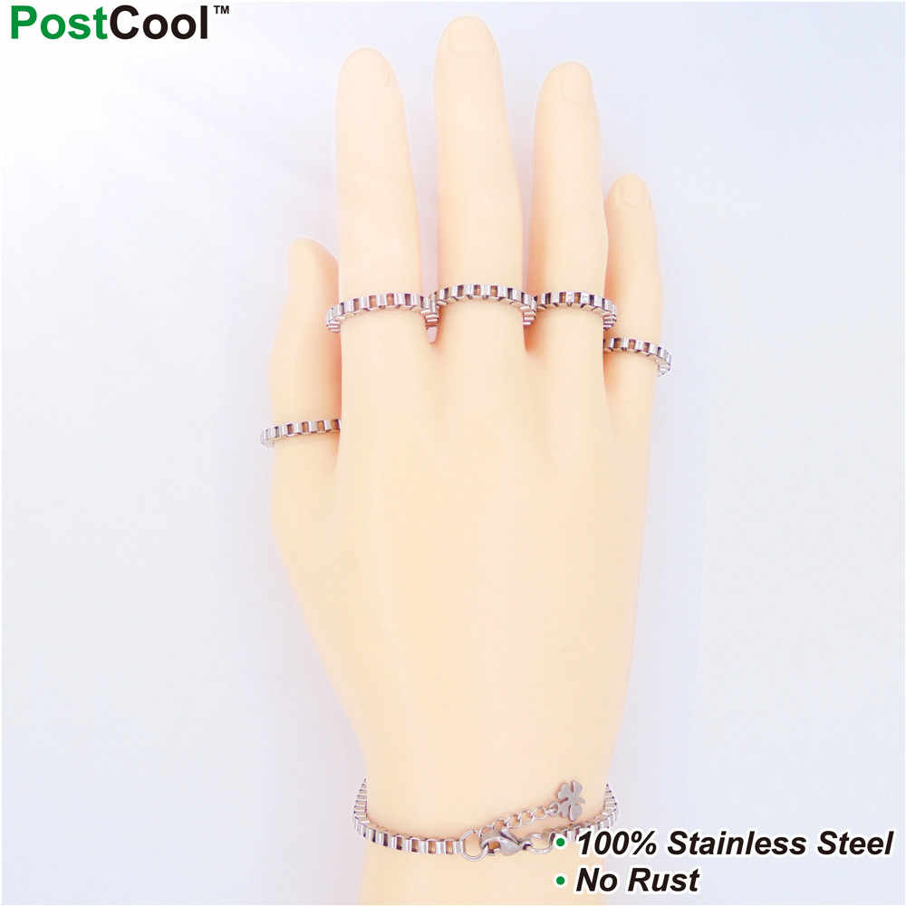 3MM Width Box Stlye Stainless Steel Chain Necklaces 40/45/50/55/60/65CM Long/Wrist Chains 18/20/22CM Long/ Finger Chains DIY