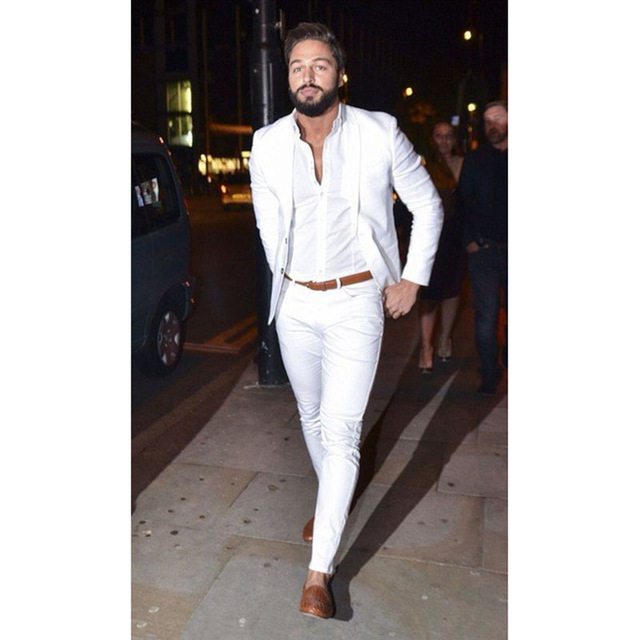 2019 Street Fashion White Men Suit Casual Terno Slim Fit 2 Pieces