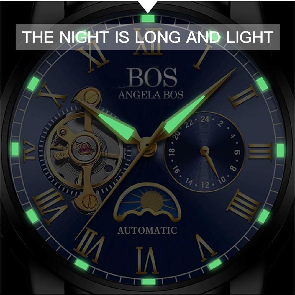 ANGELA BOS Czarny Mechaniczny Automatyczny Zegarek Mężczyźni Faza - Męskie zegarki - Zdjęcie 5