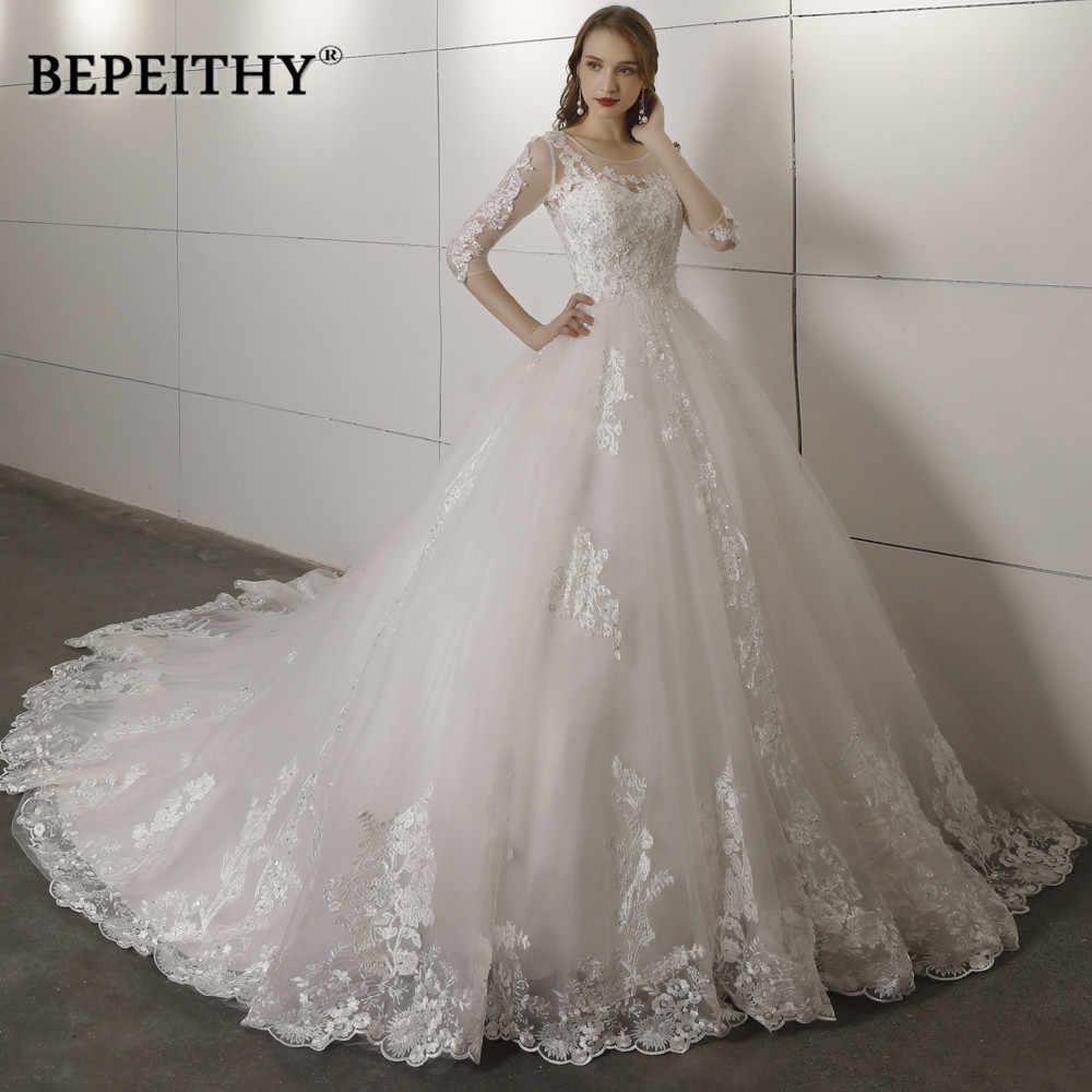 704c9d5e Vestido De Novia Three Quarter Sleeves Lace Wedding Dress 2019 Open Back Vintage  Bridal Dresses Ball