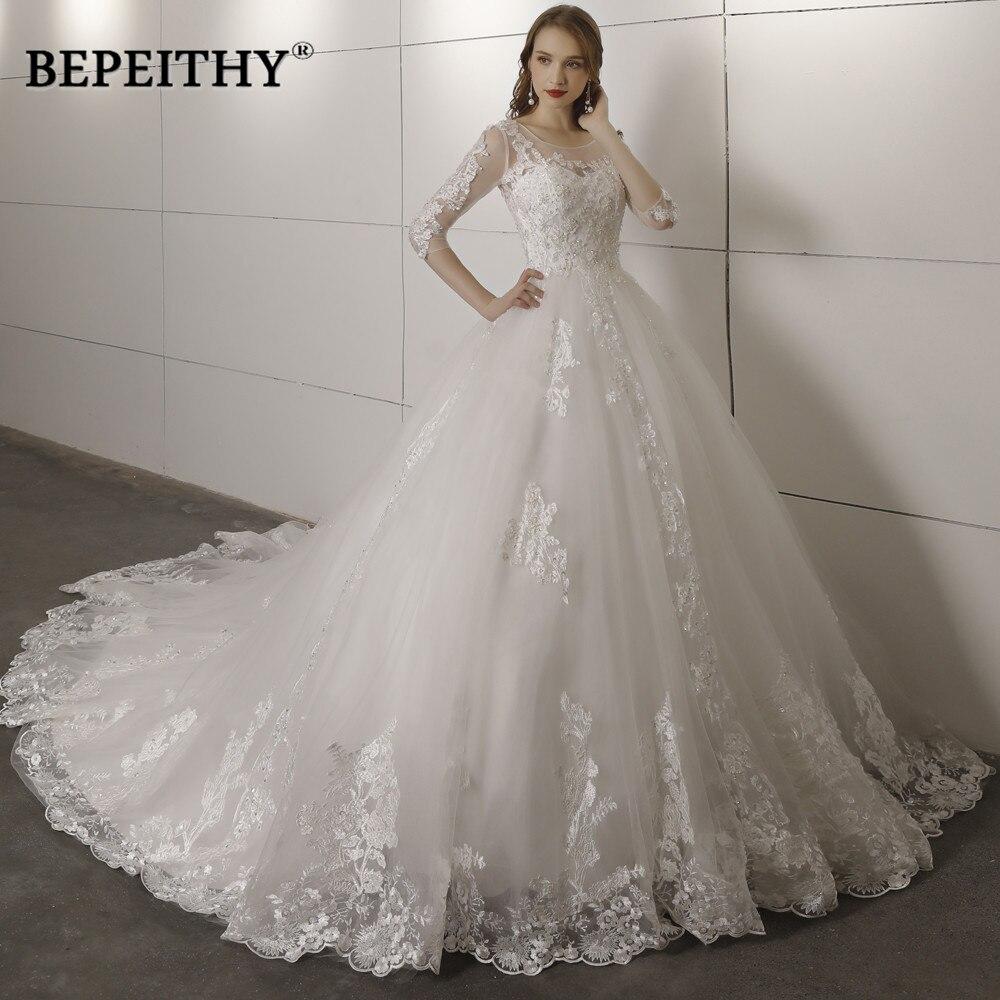 Vestido De Novia Three Quarter Sleeves Lace Wedding Dress 2020 Open Back Vintage Bridal Dresses Ball Gown Hot Sale