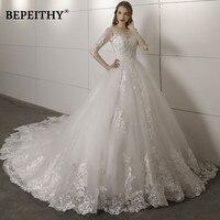 Vestido De Novia Three Quarter Sleeves Lace Wedding Dress 2019 Open Back Vintage Bridal Dresses Ball Gown Hot Sale