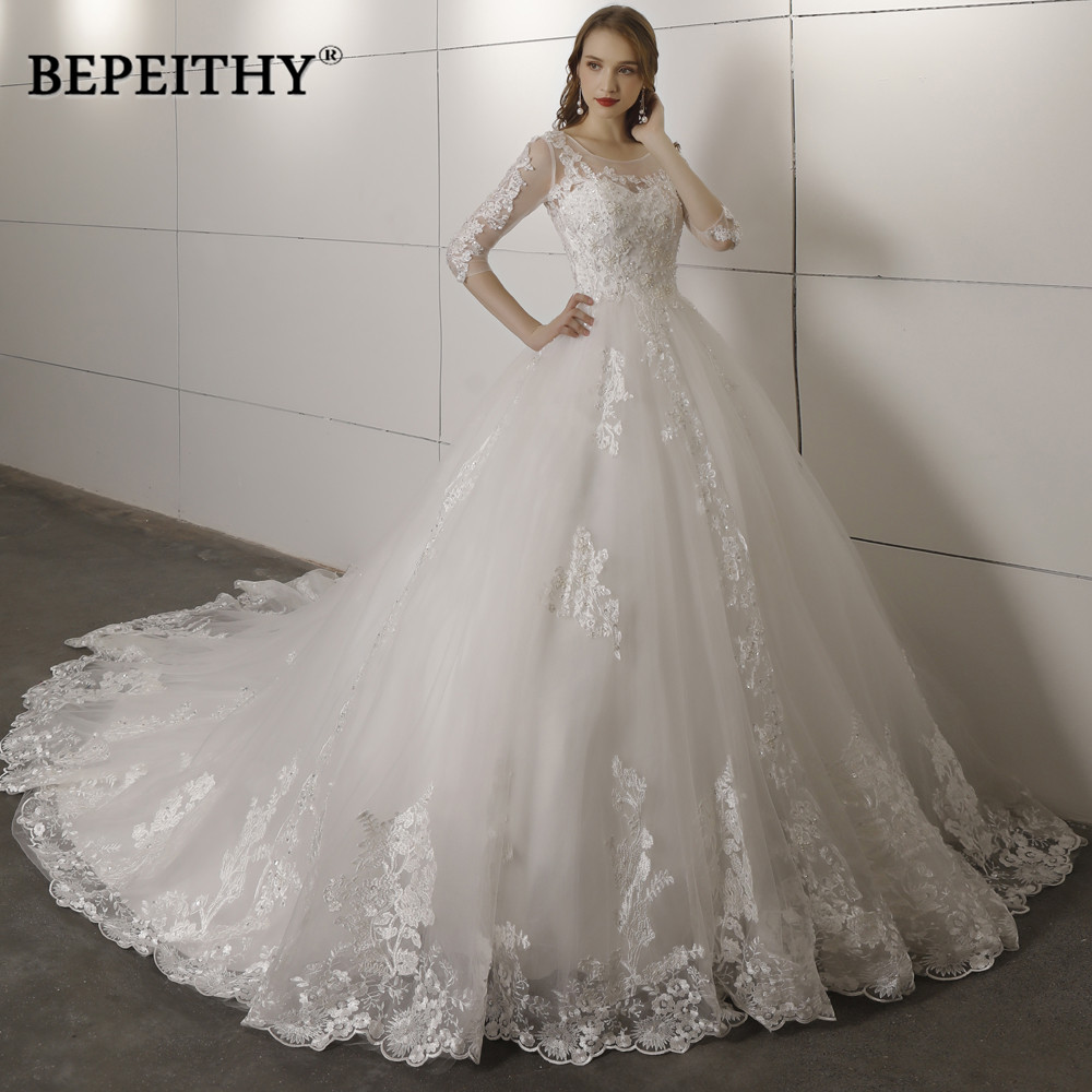 Vestido de novia três quartos mangas rendas vestido de casamento 2019 aberto voltar vestidos de noiva do vintage vestido de baile venda quente