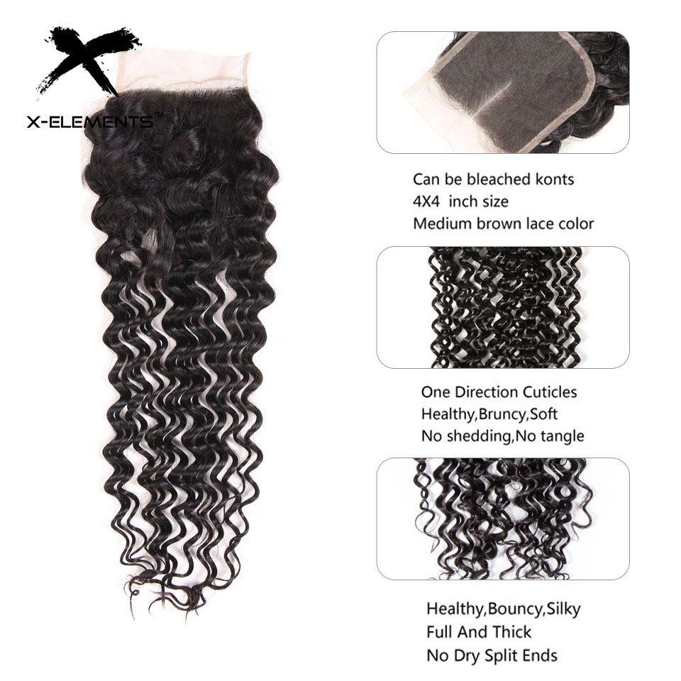 Brazilian Deep Wave Bundles with Closure 100% Human Hair Extensions with Closure Non-Remy 3 Bundles with Closure X-Elements Hair (12)