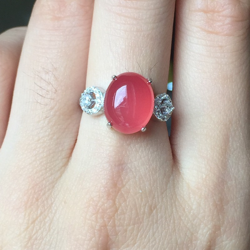 Natural Watermelon Chalcedony Stone 925 Sterling Silver Ring Women Real Gemstone Silver 925 Jewelry Elegant Female Bijoux Gift