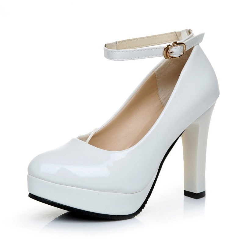 10 Cm Thick Heels Luxury White Women Pumps Genuine Leather Buckle Strap Hoof Heels Shoes Gold Round Toe Shoes D100 35