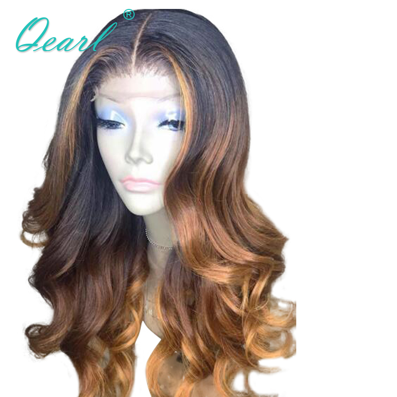 Deep Long Middle Parting 13x6 Lace Front Wig Half Lace Human Hair Wigs Ombre Three Tone Color Pre Plucked Wavy Remy Hair Qearl