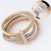 F & L 2016 Moda 3 Pçs/set Butterful Cristal Bracelet & Bangle Pulseiras Elásticas Para As Mulheres pulseira masculina de Jóias Finas