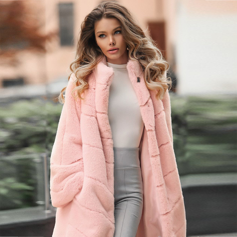 FURSARCAR Luxurious Casual Women Fur Jacket Solid Plus Size Rabbit Fur Real Fur Coat Winter Natural Fur Coat Pink Color Long