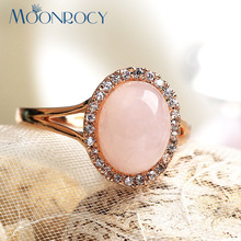 MOONROCY Free Shipping Female Trendy Fashion Austrian Crystal Pink Opal Rings Rose Gold Color Jewelry Gift For Women Jewelry