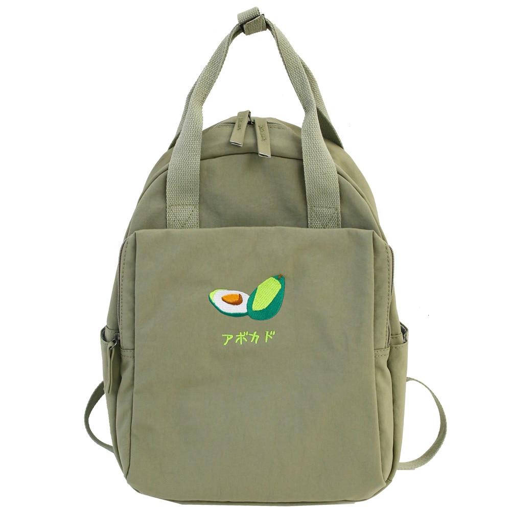2019 New Fruit Embroidery Women Backpack Little Fresh Waterproof Nylon Solid Color Shoulder Bag Girls Schoolbag For Teenagers