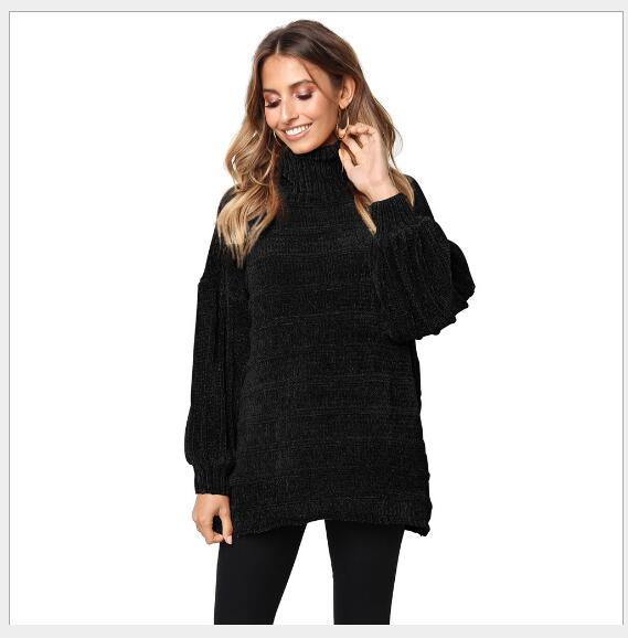 2018 Manches Solide Black grey Casual Lâche Nouveau Femmes À Mode Femme Col Base Longues Roulé Vêtements Chandail Hiver Pull Tricoté khaki army Green 5XUqwxWHZw