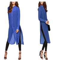 2016 Fashion Women Ladies Sheer Chiffon Long Shirt Dress Casual Loose Long Sleeve Turn Down Collar